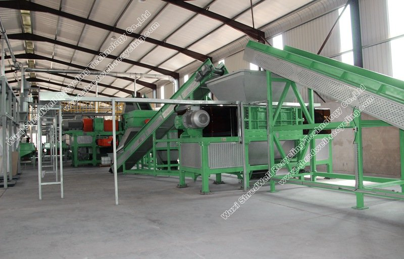 Crumb rubber plant in tire recycling plant