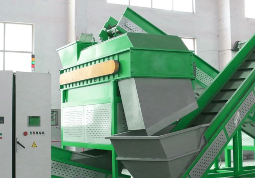 Disc classifier in tire recycling plant