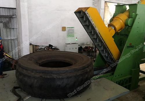 OTR tire cutting machine testing